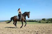 Gallop. Horse and equestrienne. — Stock Photo