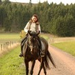 Horsewoman on tittup horse. — Foto de Stock