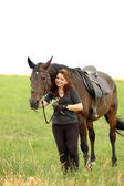 Equestrienne and horse. — Stock Photo
