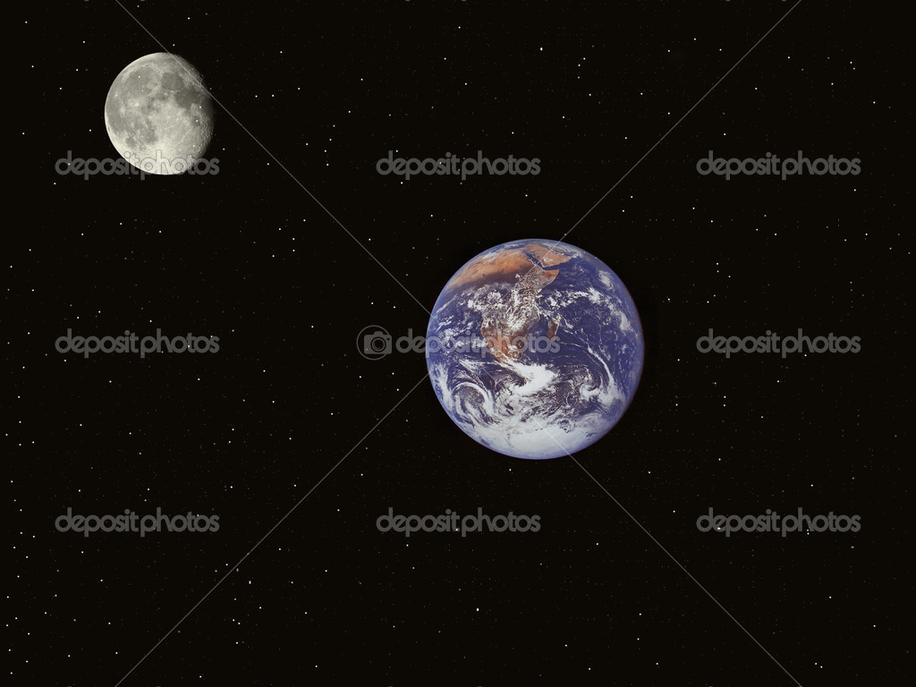 A planet is Earth and sputnik earths on a background black sky.  Stock Photo #2811567
