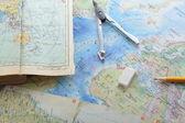 地図と pensil — ストック写真