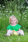 Little girl and duckling — Stock Photo