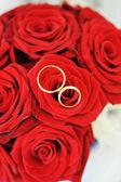 Rose e anelli d'oro — Foto Stock