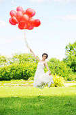 Bride with balloons — Foto Stock