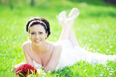 白色礼服的新娘 — 图库照片