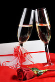 Champagne and letter — Stock Photo