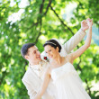 Stock Photo: Groom and bride