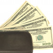 American dollars in brown wallet - Stock Photo
