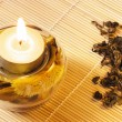 Burning candle and green tea — Stockfoto