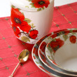Red&white dishware — Photo