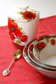 Red&white dishware — Stock Photo