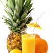 Tropical fruits and juice — Stock Photo