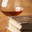 Old books and cognac — Foto Stock #2693144