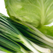 Spring onions and cabbage — Stock Photo