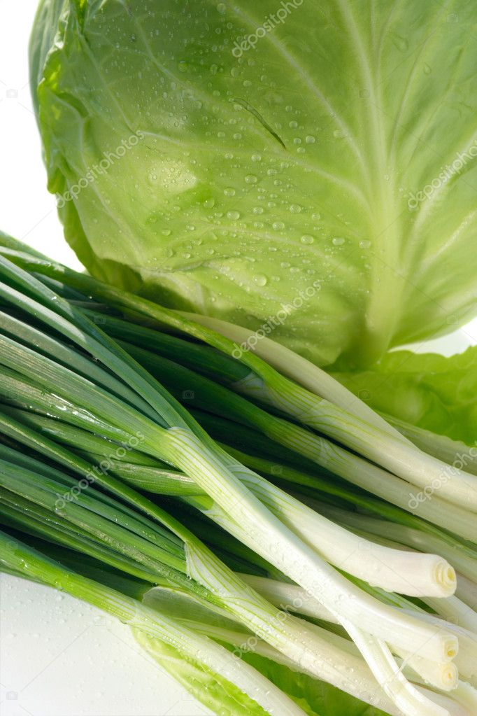 Spring onions and cabbage on white background. — Stock Photo #2709413