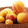 Heap of peaches and apricots — Stock Photo