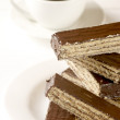 Chocolate wafer and coffee — Stock Photo