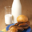 Stock Photo: Milk and buns