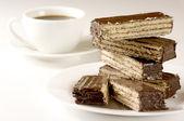 çikolatalı gofret ve kahve — Stok fotoğraf