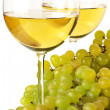 Stock Photo: White wine and grape