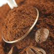Ground coffee and beans — Stock Photo