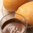 Stock Photo: Chocolate mousse and buns