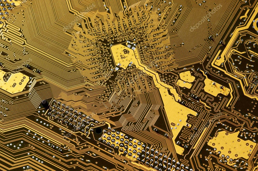 Computer part: downside of circuit board close-up. — Stock Photo #2821505