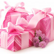 Pink gifts and chryzanthemiums — Stock Photo #2830327