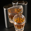 Stock Photo: Cognac and flask