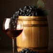 Red wine, grape and barrel — Stock Photo