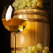 White wine, grape and barrel - Stock Photo