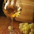Stock Photo: White wine, grape and barrel