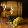 Wine, grape and barrel — Stock Photo
