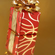 Stock Photo: Red/gold gift