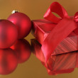 Christmas decorations and gift — Stock Photo