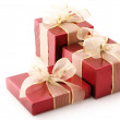 Red foil gifts — Stock Photo