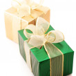 Green and gold gifts — Stock Photo