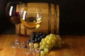 Wine, grape and barrel — Stock Photo