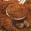 Ground coffee and beans - Stockfoto