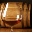 Cognac and barrel — Stock Photo