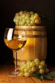 White wine, grape and barrel — Stock Photo