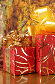 Red/gold gifts — Stockfoto