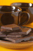 Dark chocolate and coffee — Stock Photo