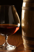 Cognac and barrel — Stock Photo