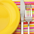 Plate, fork and knife — Stock Photo