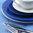 Blue and white dishware - Stock Photo