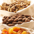 Nuts and dried apricots — Stock Photo