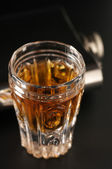Cognac and flask — Stock Photo