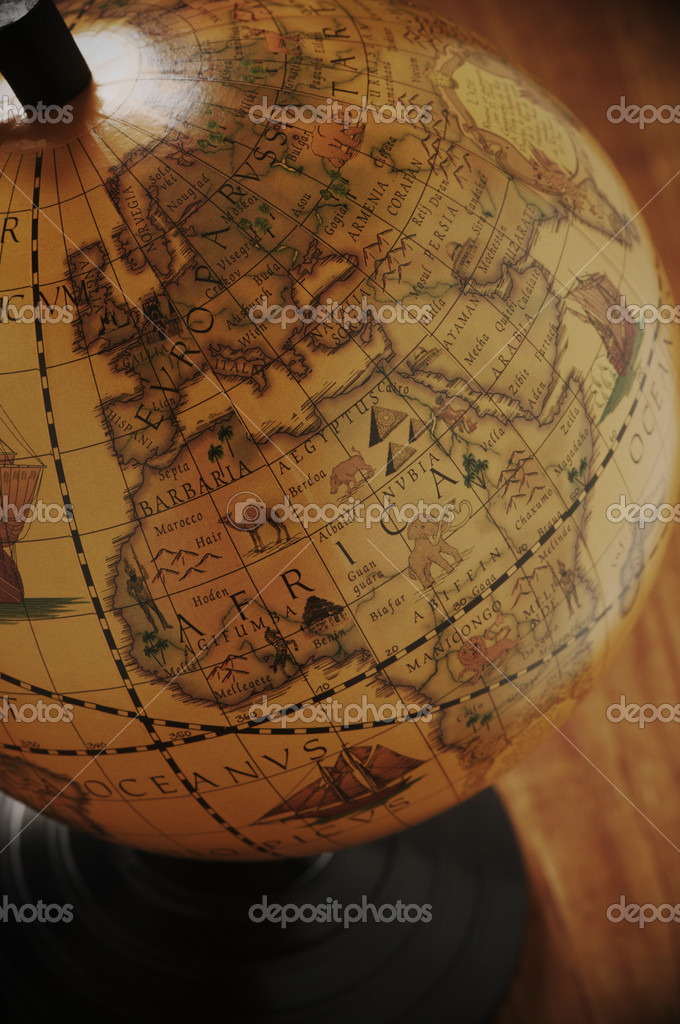 Close-up of vintage globe in back light. — Stock Photo #2981597