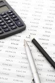 Pencil, pen and calculator close-up — Stock Photo
